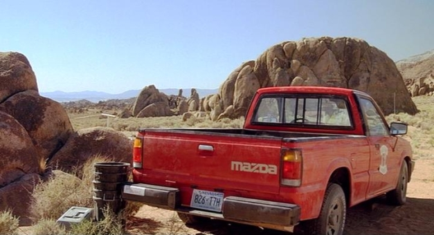 Mazda B2200 - the little Mazda is left to fend for itself under the hot Nevada sun while our heroes escape.